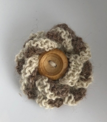 White & Oatmeal Alpaca Flower Brooch
