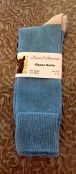 Alpaca Socks Blue & Ivory Contrast 8-10