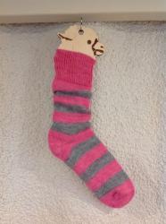 Alpaca Socks Pink & Grey Stripe 4-7