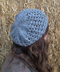 Lacy Beret in Thunder & Sparkle SOLD KNITTING IN 2017 COLOUR