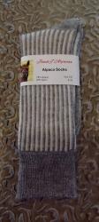 Alpaca Socks Grey & Ivory Vertical Stripe 8-10