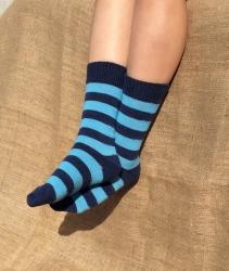 Alpaca Socks - Navy & Blue Stripy 8-10