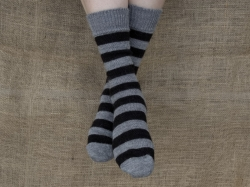 Alpaca Socks Grey & Black Stripy 8-10
