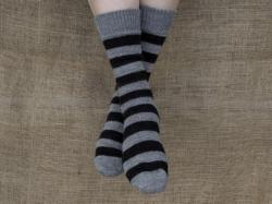 Alpaca Socks Grey & Black Stripy 8-10
