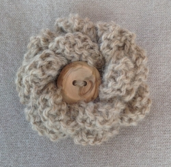 Fawn Alpaca Flower Brooch