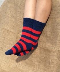 Alpaca Socks Navy & Red Stripy 4-7