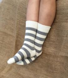 Alpaca Socks Ivory & Ash Stripy 4-7