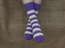 Alpaca Socks Purple & Ivory Stripy 8-10