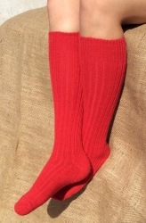 Alpaca Long Boot Socks Red 4-7