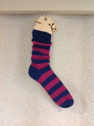 Alpaca Socks Navy & Raspberry Stripy 11-13
