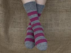 Alpaca Socks Raspberry & Ash Stripy 4-7