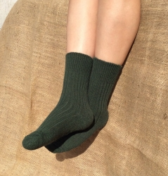 Alpaca Short Boot Socks Green 8-10