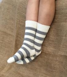 Alpaca Socks Ivory & Ash Stripy 8-10