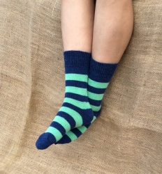 Alpaca Socks Navy & Pea Green Stripy 8-10