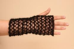 Lacy Long Fingerless Gloves in Enya