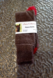 Alpaca Socks Brown & Red Contrast 4-7