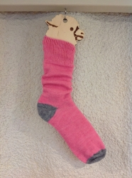 Alpaca Socks Pink & Grey Contrast 4-7