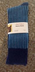 Alpaca Socks Navy & Blue Vertical Stripe 8-10
