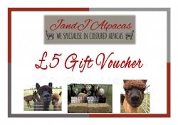 JandJ Alpacas Gift Voucher - £5