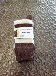 Alpaca Socks Brown & Ivory Stripy 4-7
