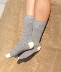 Alpaca Socks Grey & Ivory Contrast 4-7