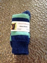 Alpaca Socks Green & Navy 4-7