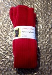 Alpaca Long Boot Socks Red 11-13