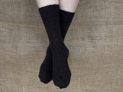 Alpaca Socks Black Plain 8-10
