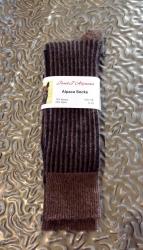 Alpaca Socks Brown & Black Vertical Stripe 8-10