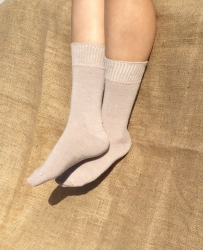 Alpaca Socks Beige Plain 4-7