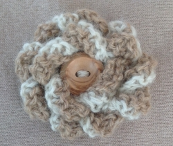 White & Fawn Alpaca Flower Brooch