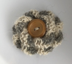 White & Grey Alpaca Flower Brooch
