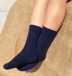 Alpaca Socks Navy Plain 8-10