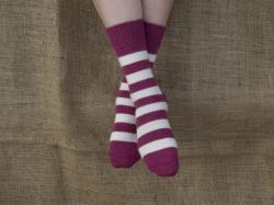 Alpaca Socks Raspberry & Cream Stripy 4-7