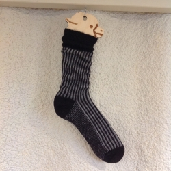 Alpaca Socks Charcoal & Grey Vertical Stripe 8-10