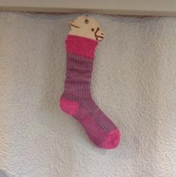 Alpaca Socks Pink & Grey Vertical Stripe 4-7
