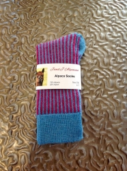 Alpaca Socks Raspberry & Blue Vertical Stripe 4-7