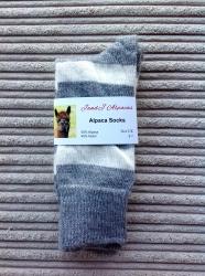 Alpaca Socks Ash & Ivory Stripy 4-7