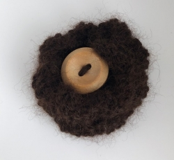 Dark Brown Alpaca Flower Brooch