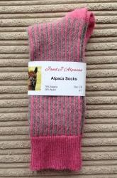 Alpaca Socks Pink & Grey Vertical Stripes 4-7