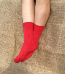 Alpaca Short Boot Socks Red 4-7