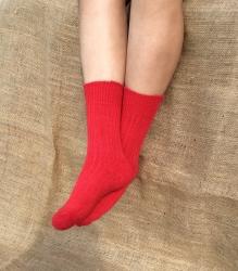 Alpaca Short Boot Socks Red 4-7