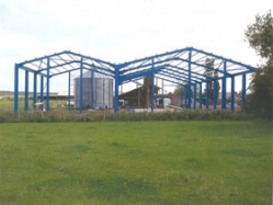 A newly erected steel frame.
