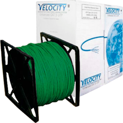 Cat5E Cable U/UTP 26AWG Stranded Patch LS0H 305m Box - Green