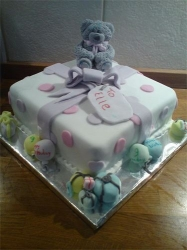 Childrens birthday cake with sugar icing bear