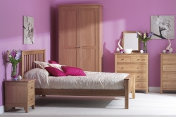 Practical storage and clean lines are the signature of the Nimbus oak bedroom furniture collection.