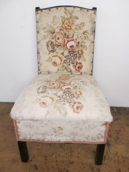 Unusual Nursing Chair with side drawer, New Re-upholstery