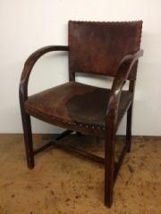 Deco desk chair restored with new hand nail/studded leather.