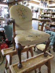 Antique cabriole leg Armchair with contemporary fabric