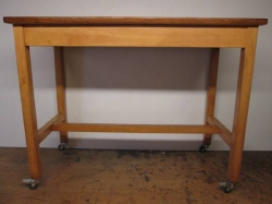 1950/60s Solid Beech & Mahogany Kitchen Trolley Tables